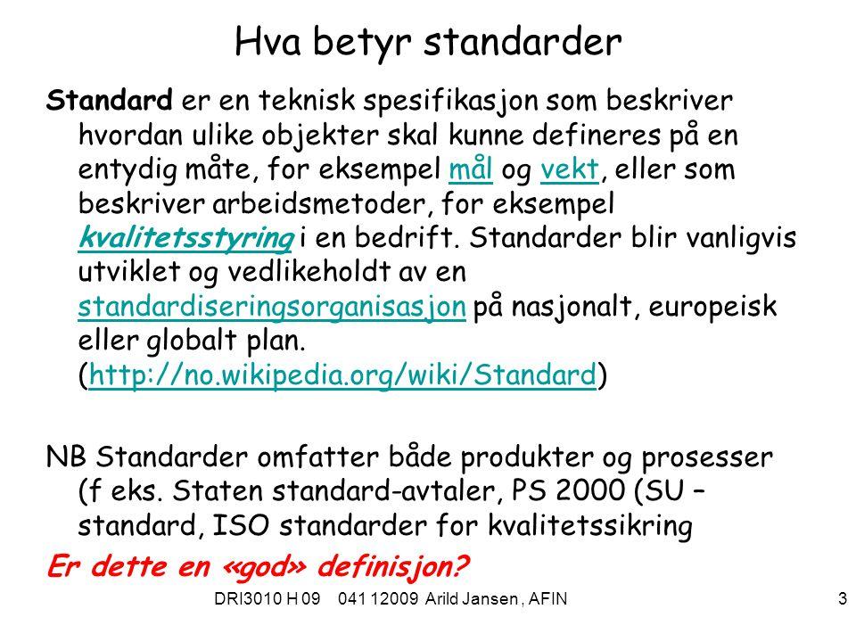 Hva betyr standarder