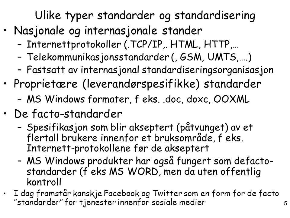 Ulike typer standarder og standardisering