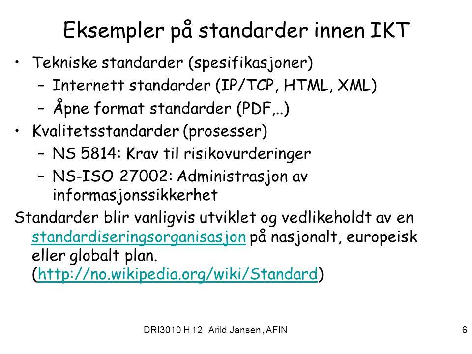 Eksempler på standarder innen IKT