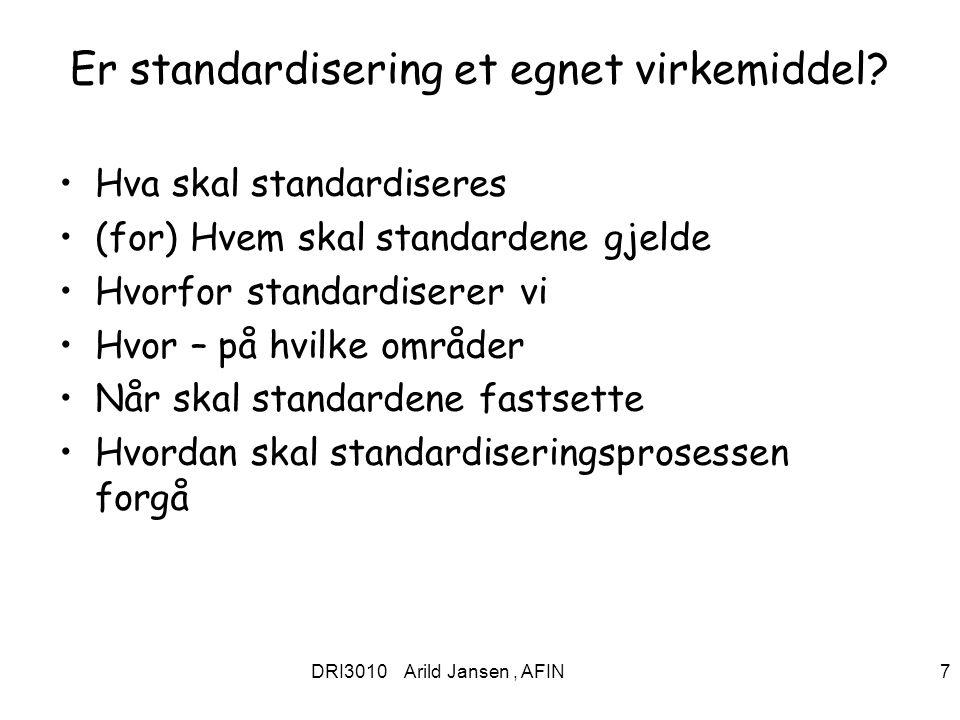 Er standardisering et egnet virkemiddel