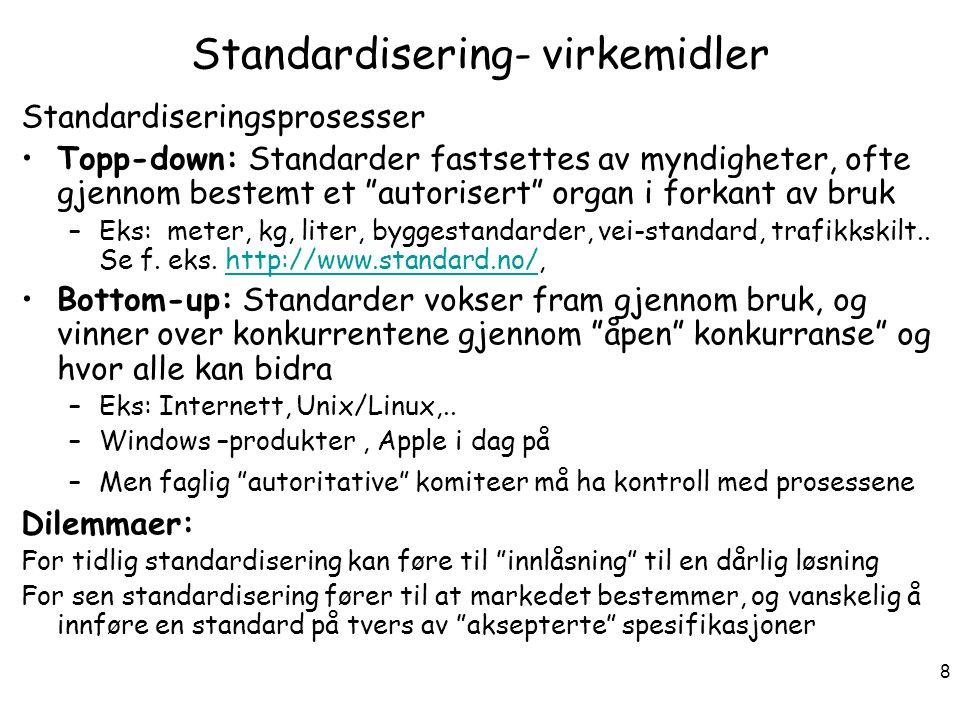Standardisering- virkemidler