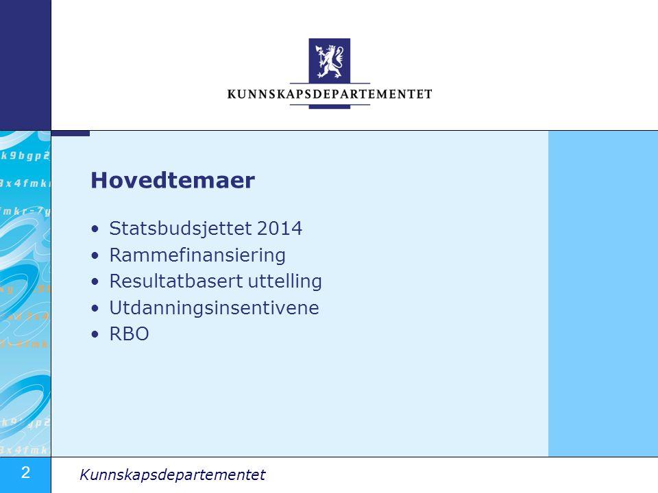 Hovedtemaer Statsbudsjettet 2014 Rammefinansiering