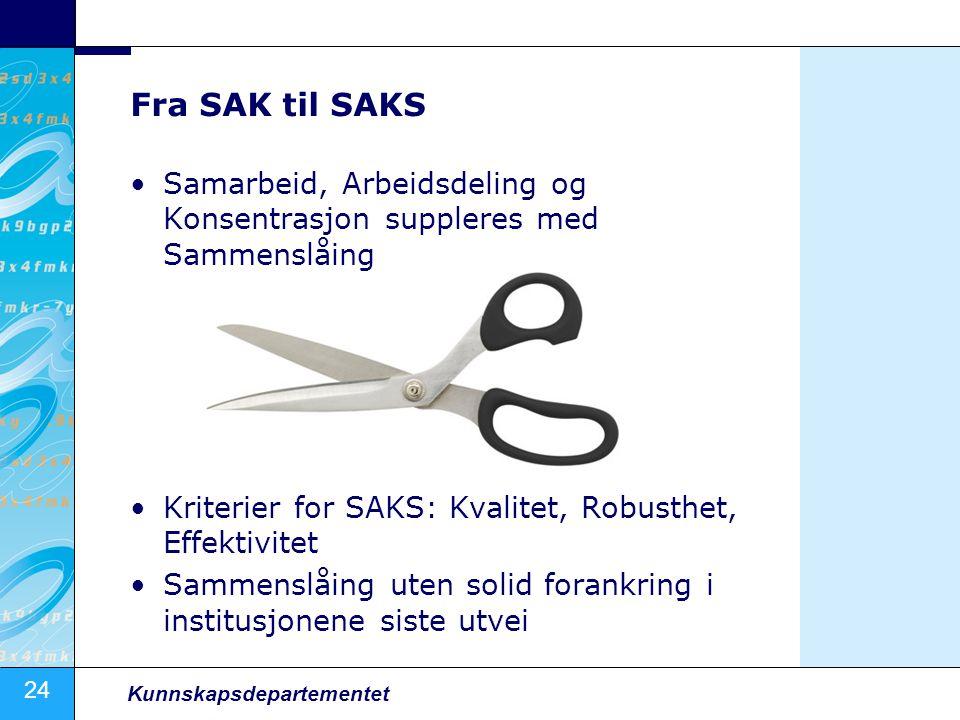 Fra SAK til SAKS Samarbeid, Arbeidsdeling og Konsentrasjon suppleres med Sammenslåing. Kriterier for SAKS: Kvalitet, Robusthet, Effektivitet.