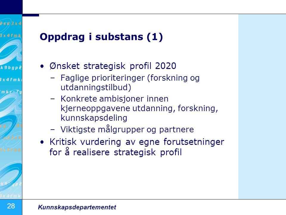 Oppdrag i substans (1) Ønsket strategisk profil 2020