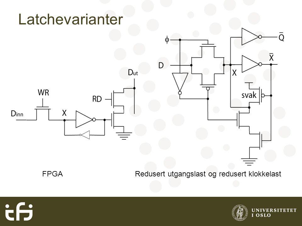 Latchevarianter FPGA Redusert utgangslast og redusert klokkelast