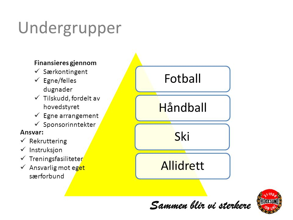 Undergrupper Fotball Håndball Ski Allidrett Finansieres gjennom