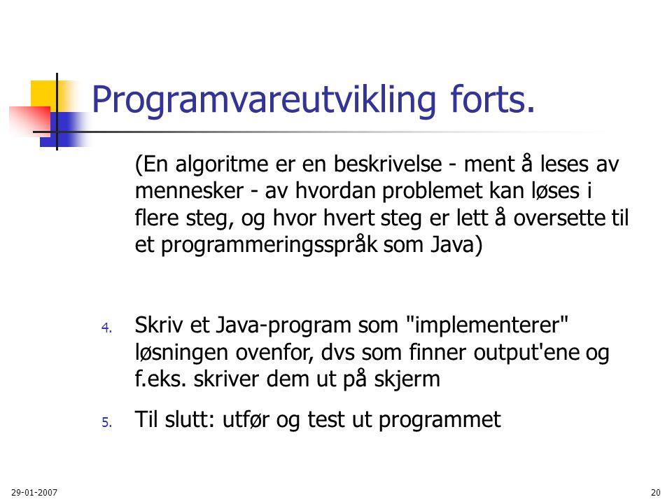 Programvareutvikling forts.