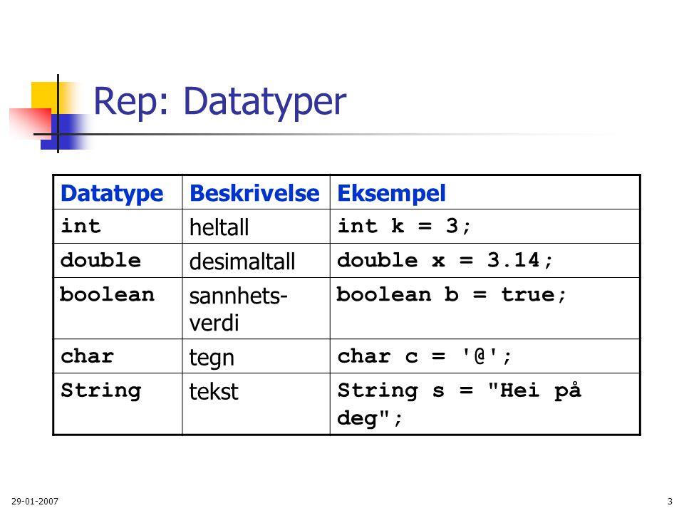 Rep: Datatyper Datatype Beskrivelse Eksempel int heltall int k = 3;