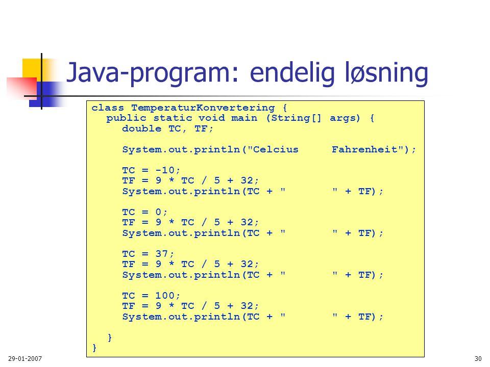 Java-program: endelig løsning