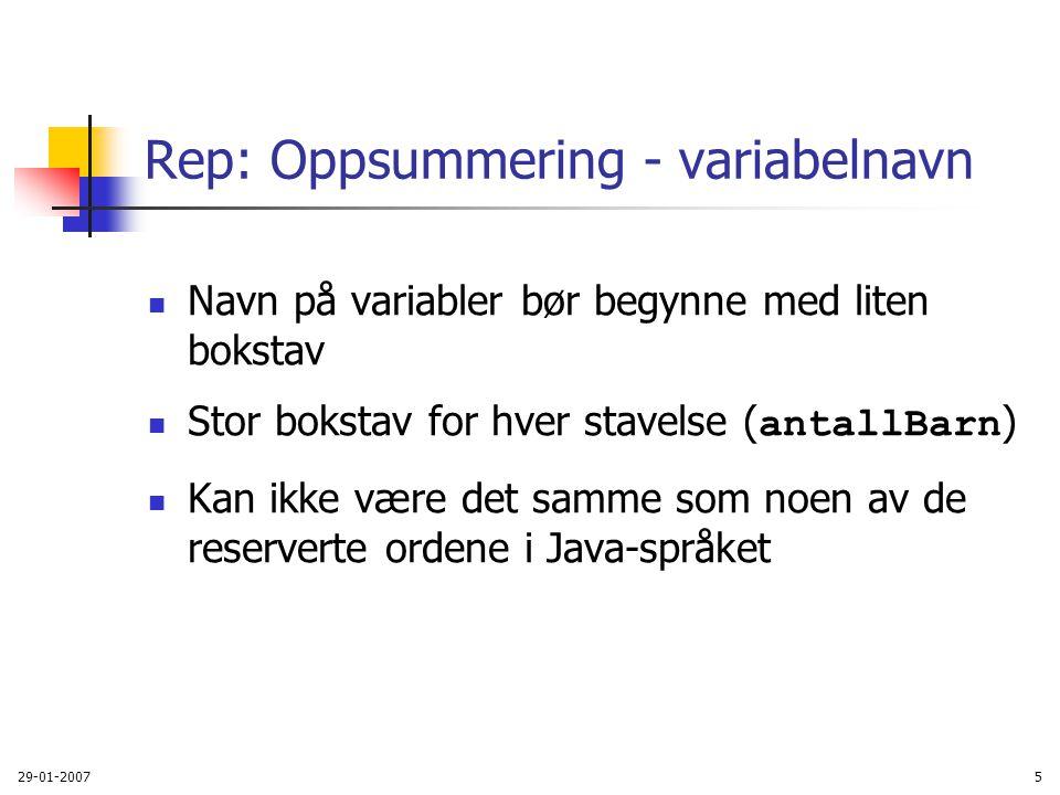 Rep: Oppsummering - variabelnavn