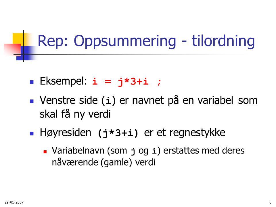 Rep: Oppsummering - tilordning