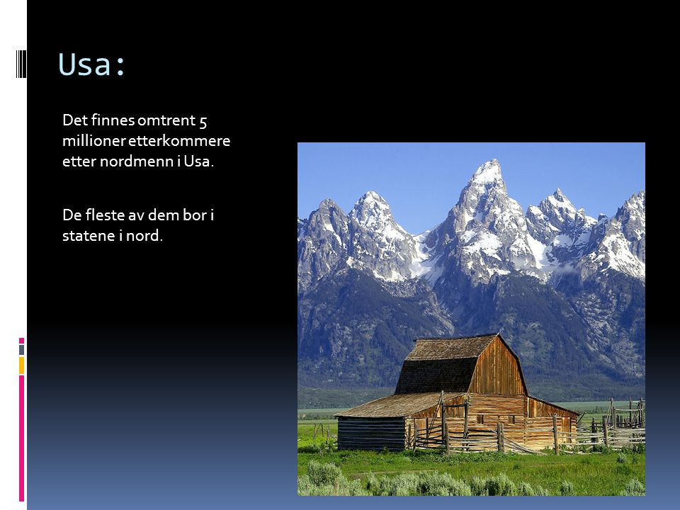 Usa: Det finnes omtrent 5 millioner etterkommere etter nordmenn i Usa.