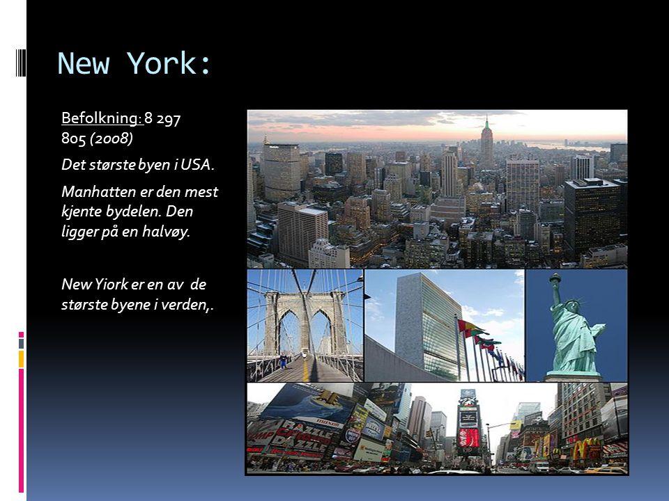 New York: Befolkning: 8 297 805 (2008) Det største byen i USA.