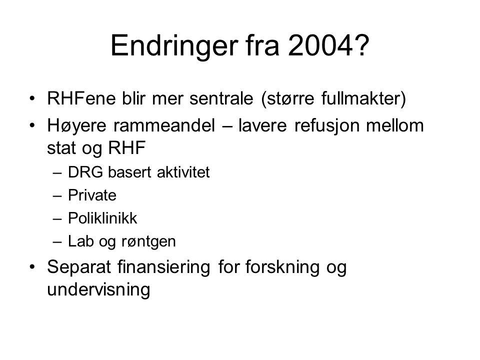 Endringer fra 2004 RHFene blir mer sentrale (større fullmakter)