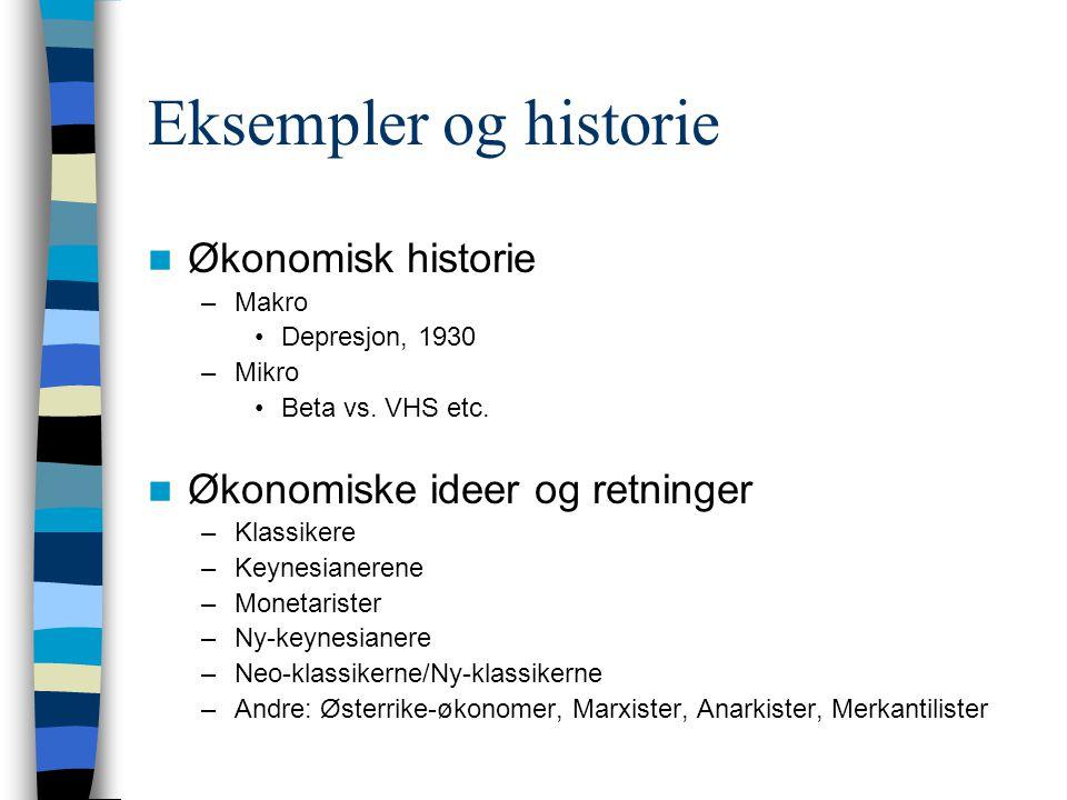 Eksempler og historie Økonomisk historie Økonomiske ideer og retninger