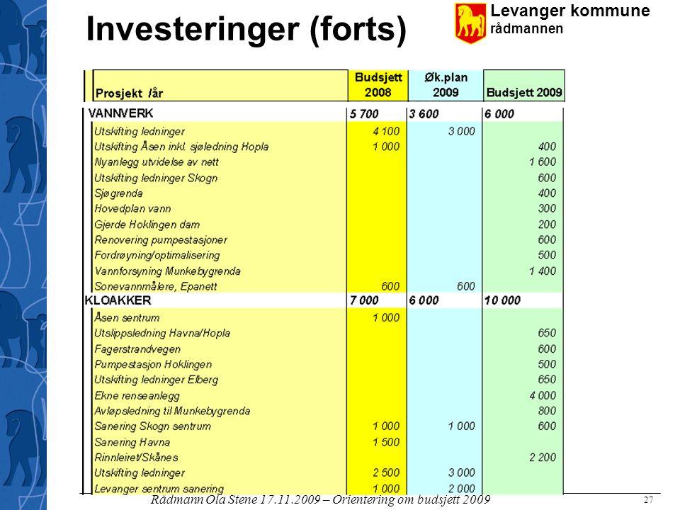 Investeringer (forts)