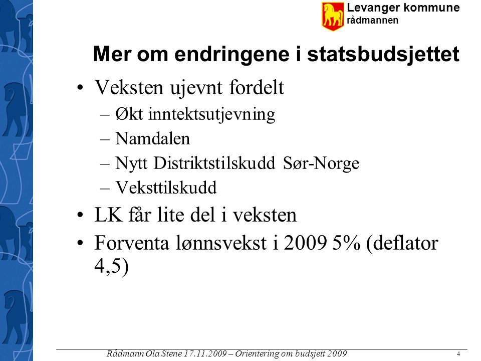 Mer om endringene i statsbudsjettet
