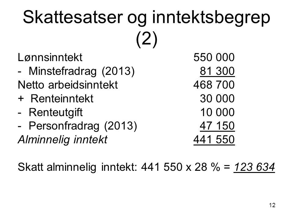 Skattesatser og inntektsbegrep (2)