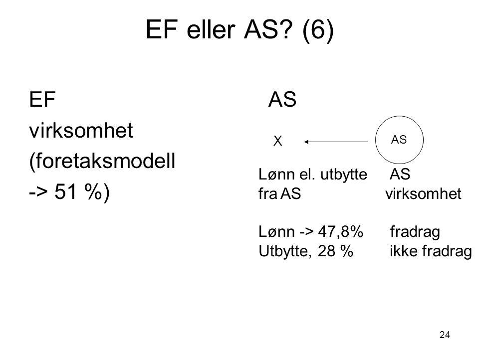 EF eller AS (6) EF AS virksomhet (foretaksmodell -> 51 %)