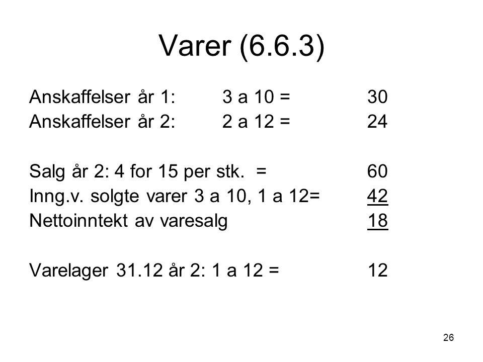 Varer (6.6.3) Anskaffelser år 1: 3 a 10 = 30