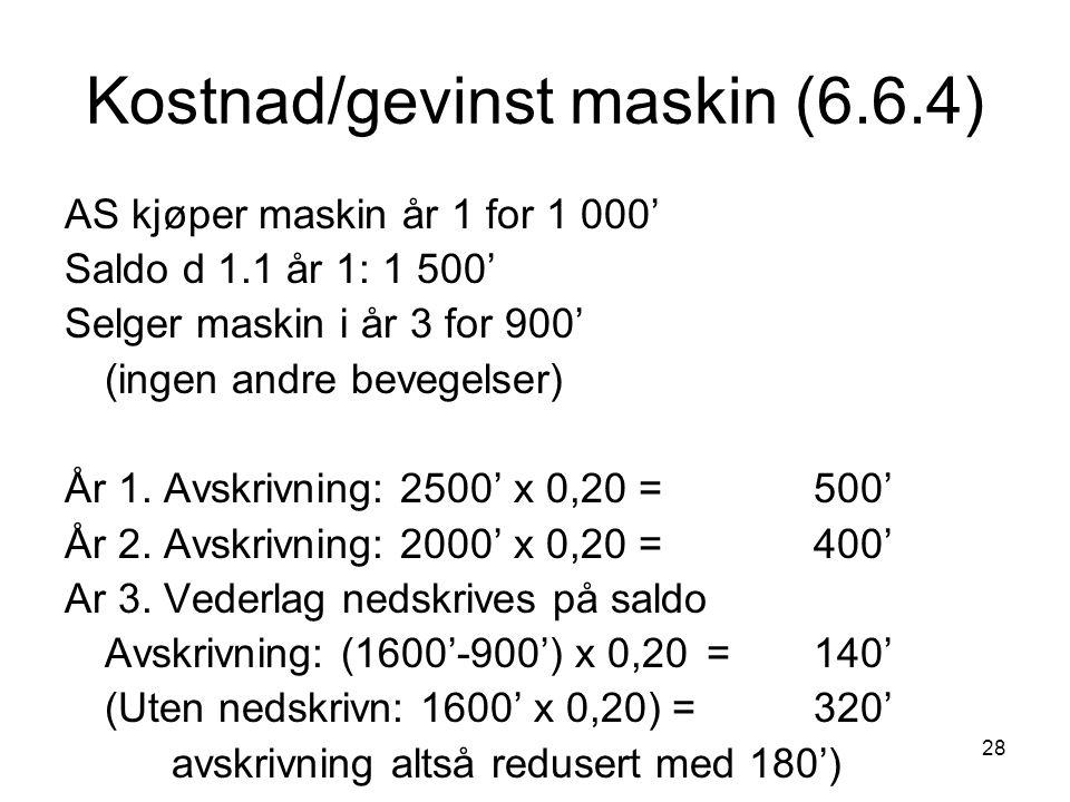 Kostnad/gevinst maskin (6.6.4)
