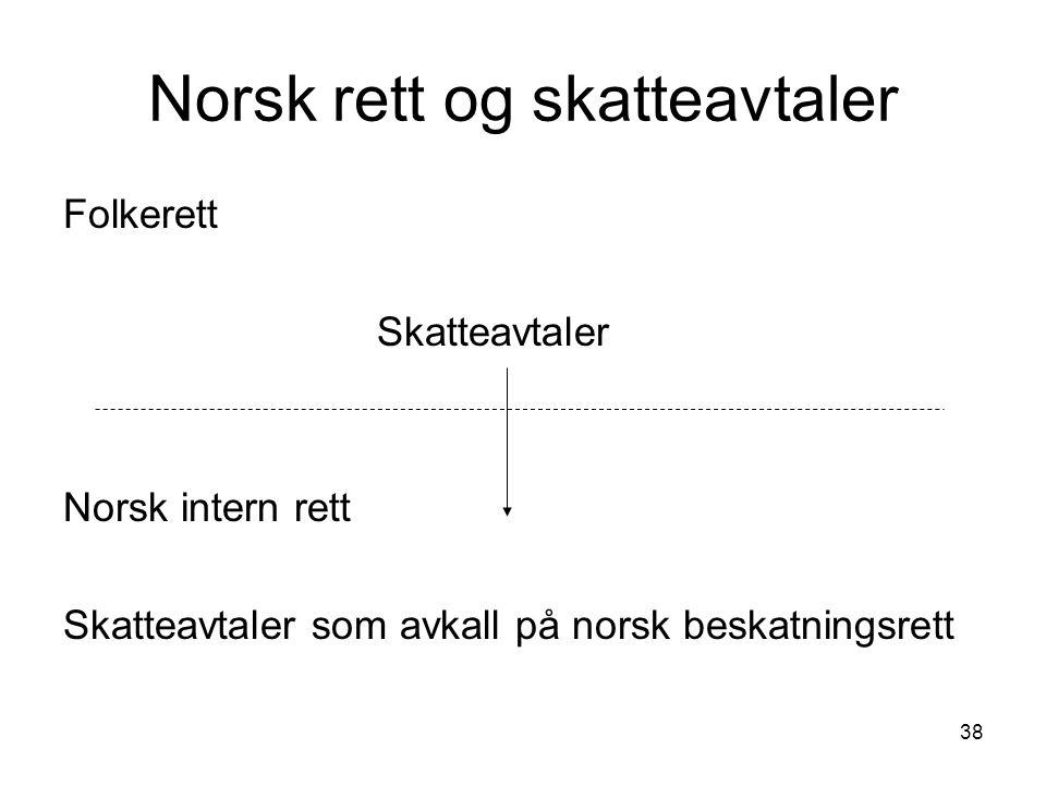 Norsk rett og skatteavtaler