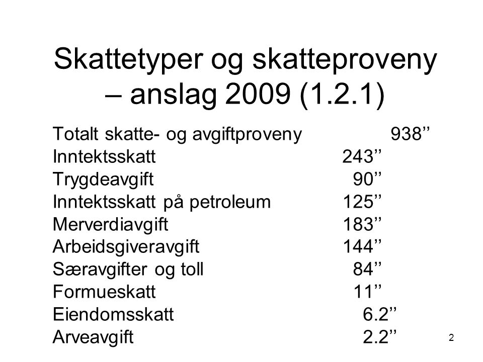 Skattetyper og skatteproveny – anslag 2009 (1.2.1)