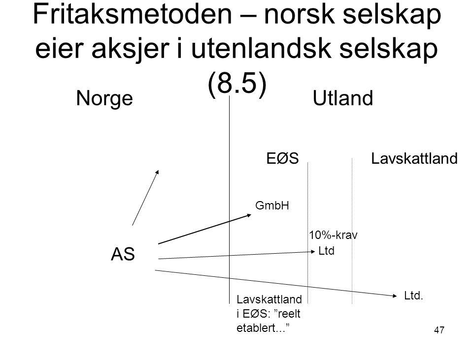 Fritaksmetoden – norsk selskap eier aksjer i utenlandsk selskap (8.5)