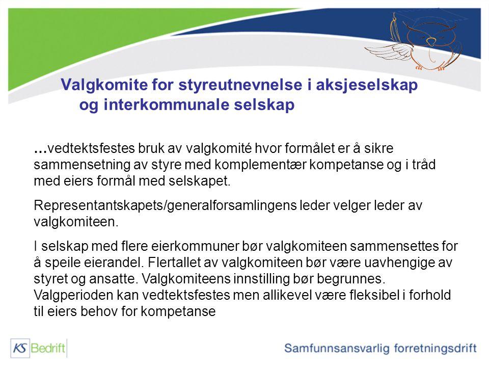Valgkomite for styreutnevnelse i aksjeselskap og interkommunale selskap