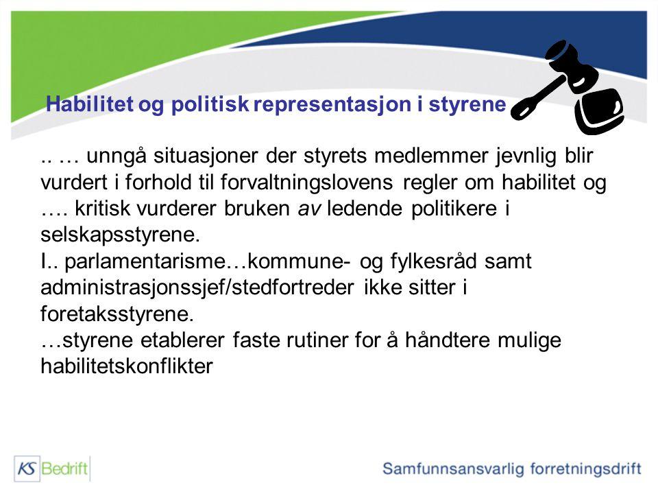 Habilitet og politisk representasjon i styrene