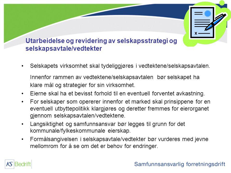 Utarbeidelse og revidering av selskapsstrategi og selskapsavtale/vedtekter