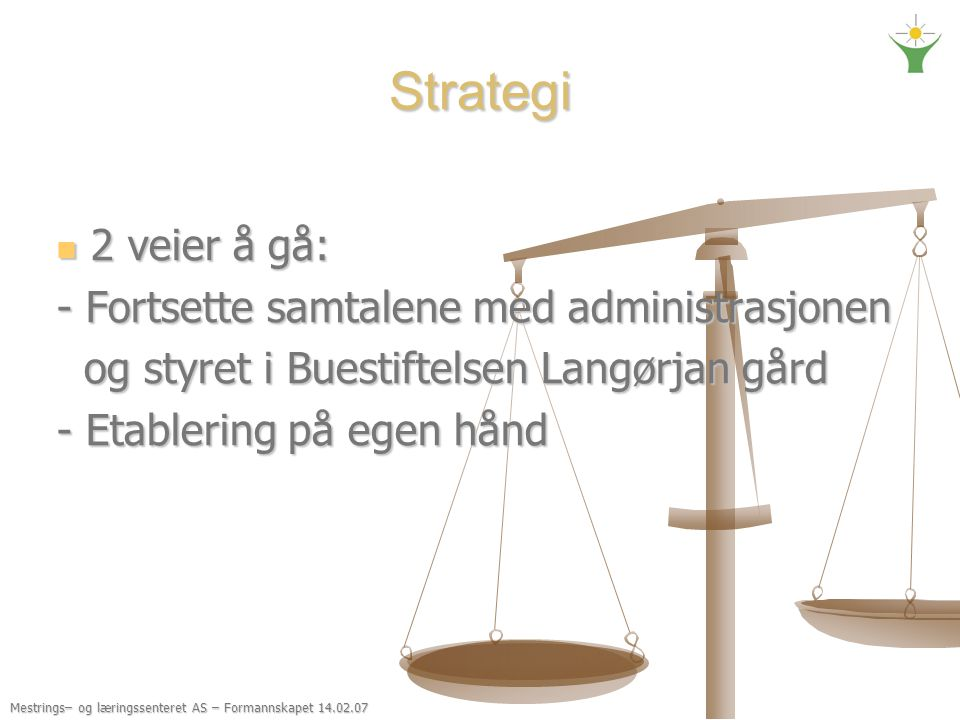 Strategi 2 veier å gå: - Fortsette samtalene med administrasjonen