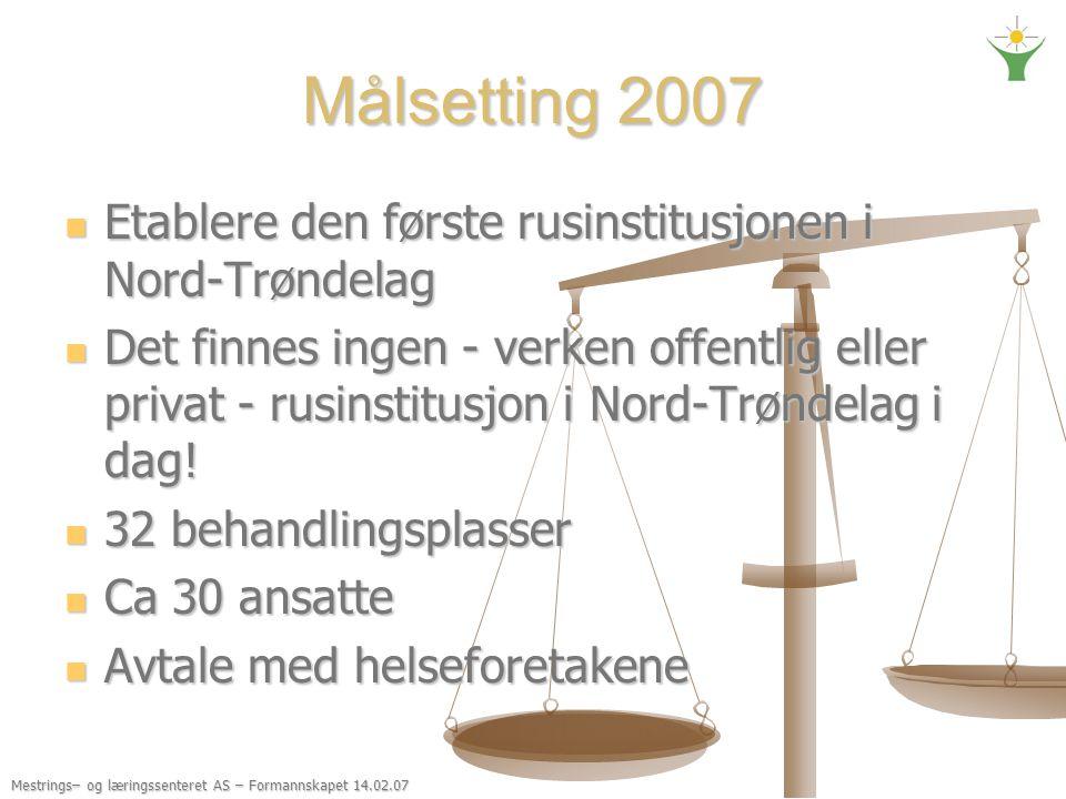 Målsetting 2007 Etablere den første rusinstitusjonen i Nord-Trøndelag