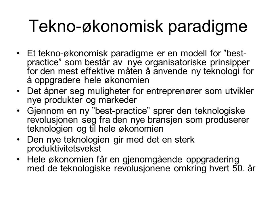 Tekno-økonomisk paradigme
