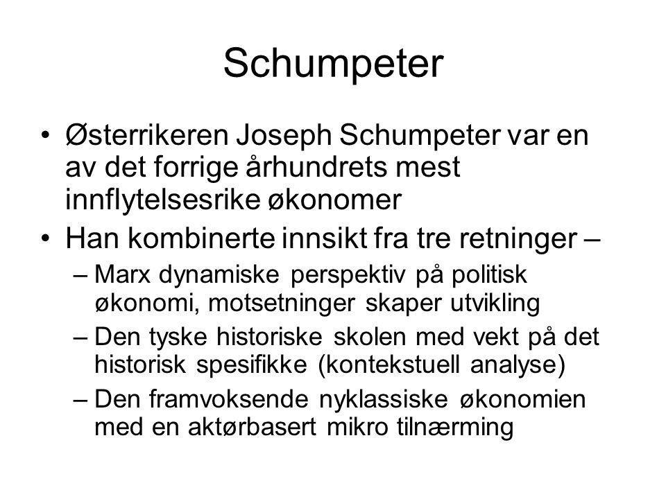 Schumpeter Østerrikeren Joseph Schumpeter var en av det forrige århundrets mest innflytelsesrike økonomer.