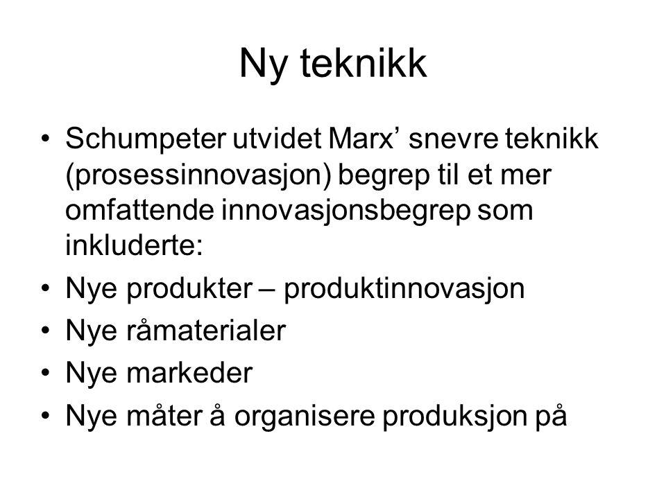 Ny teknikk Schumpeter utvidet Marx' snevre teknikk (prosessinnovasjon) begrep til et mer omfattende innovasjonsbegrep som inkluderte: