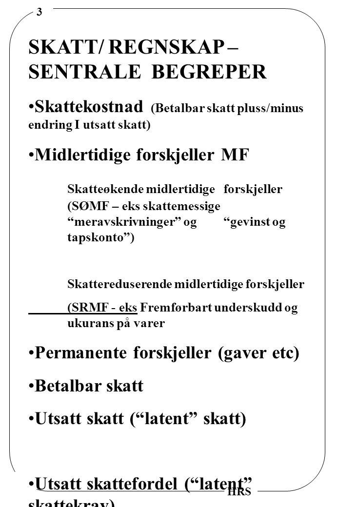 SKATT/ REGNSKAP –SENTRALE BEGREPER
