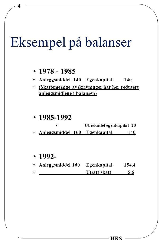 Eksempel på balanser 1978 - 1985 1985-1992 1992-