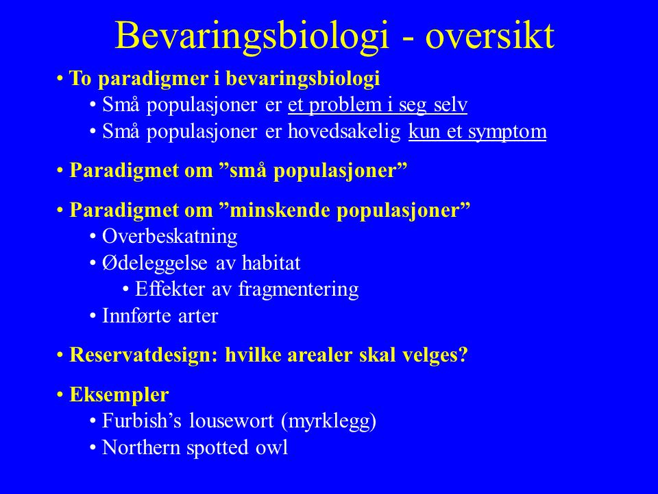 Bevaringsbiologi - oversikt