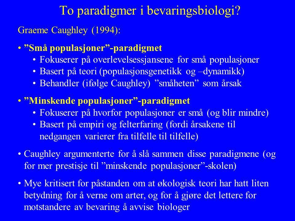 To paradigmer i bevaringsbiologi