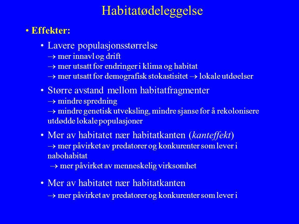 Habitatødeleggelse Effekter: