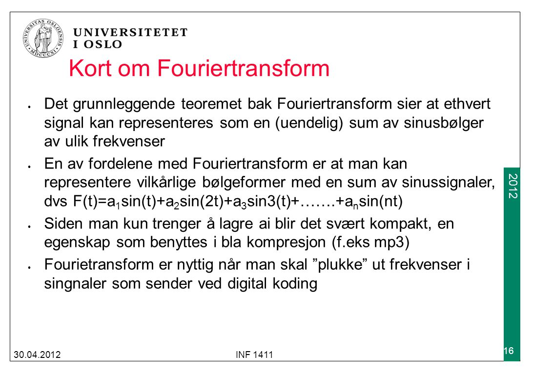 Kort om Fouriertransform