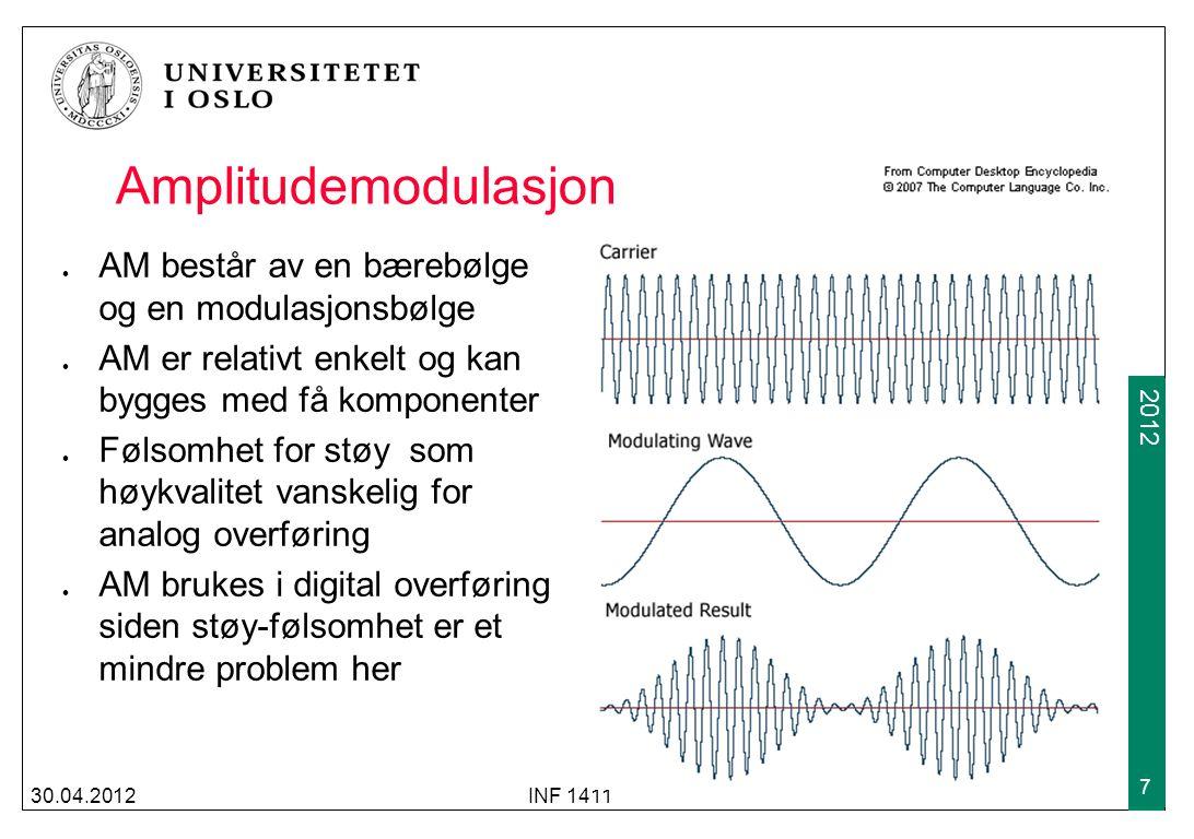 Amplitudemodulasjon AM består av en bærebølge og en modulasjonsbølge