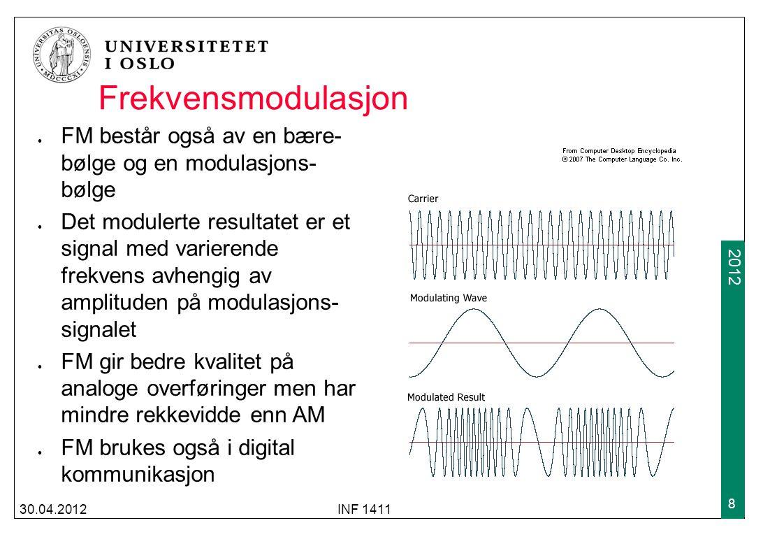 Frekvensmodulasjon FM består også av en bære-bølge og en modulasjons-bølge.