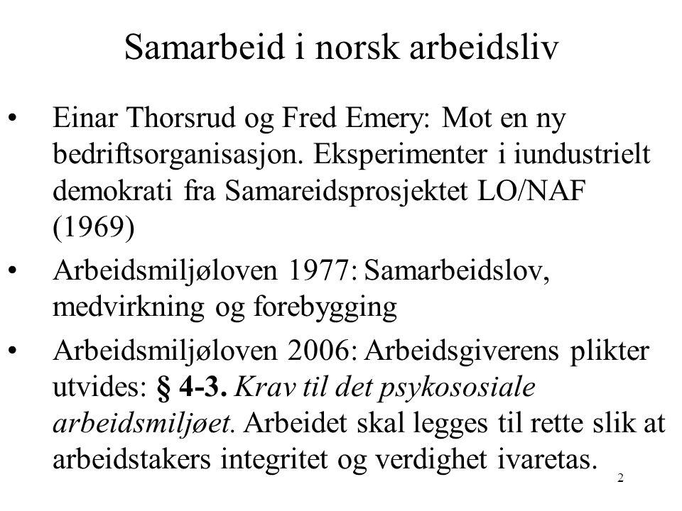 Samarbeid i norsk arbeidsliv