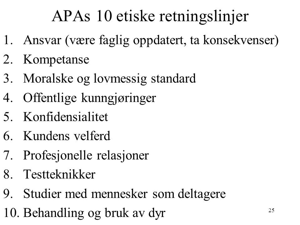 APAs 10 etiske retningslinjer