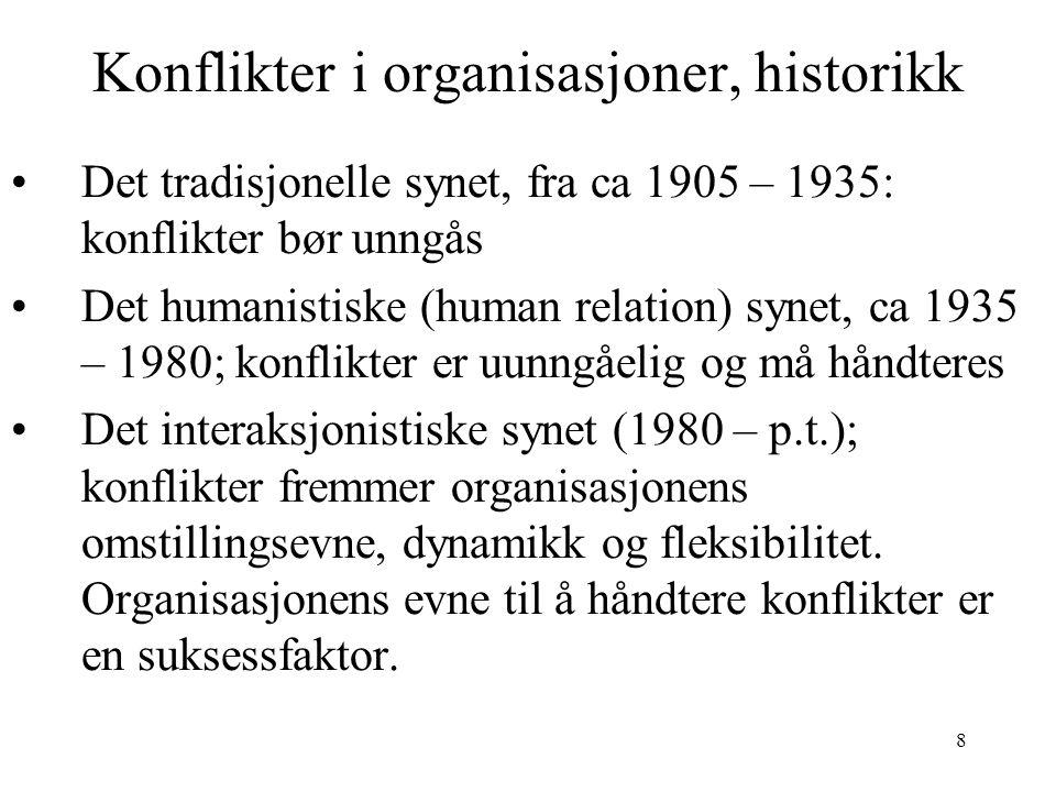 Konflikter i organisasjoner, historikk