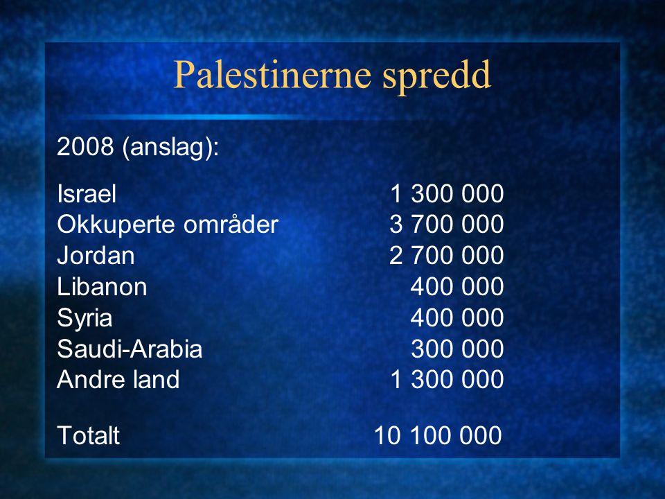 Palestinerne spredd 2008 (anslag): Israel 1 300 000