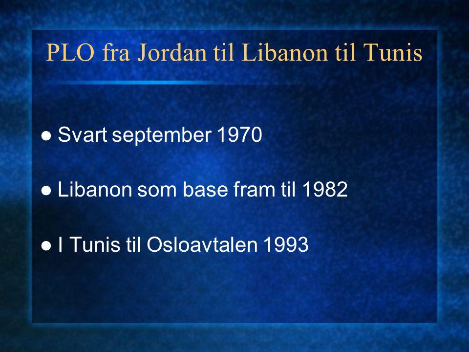 PLO fra Jordan til Libanon til Tunis