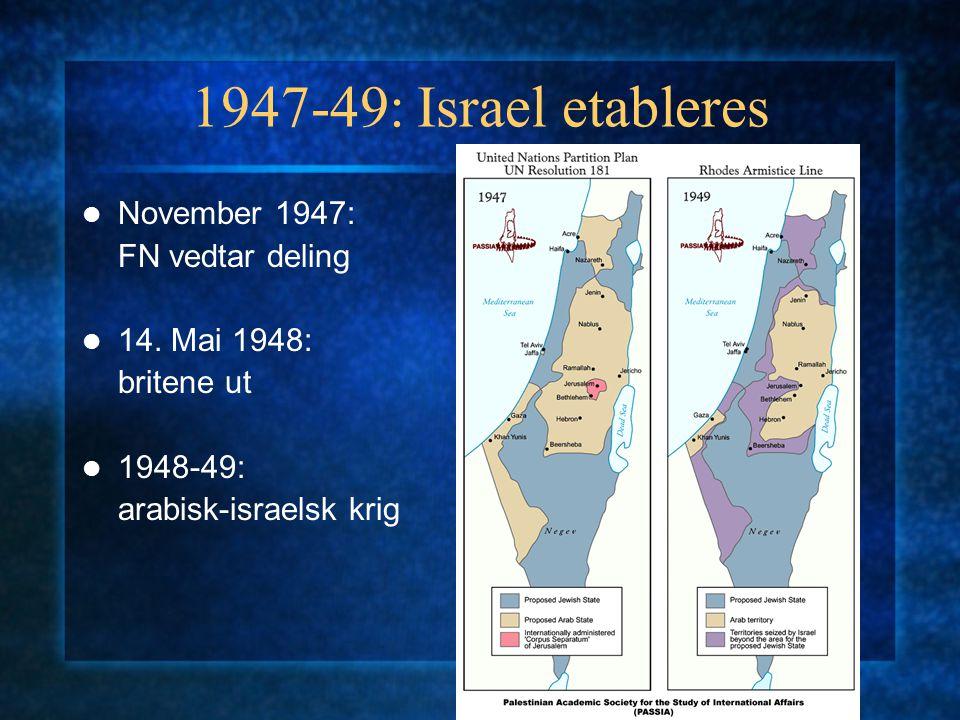 1947-49: Israel etableres November 1947: FN vedtar deling